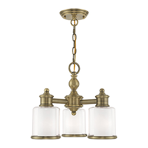 Middlebush Antique Brass 16-Inch Three-Light Convertible Mini Chandelier with Clear and Satin Opal White Glass