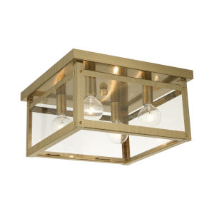 Milford Antique Brass Four-Light Flush Mount