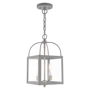 Milford Nordic Gray Eight-Inch Two-Light Convertible Mini Pendant
