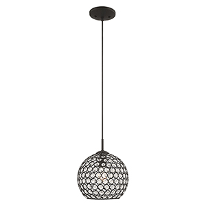 Cassandra Black 9-Inch One-Light Mini Pendant with Clear Crystals