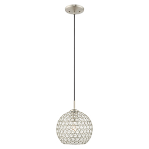 Cassandra Brushed Nickel 9-Inch One-Light Mini Pendant with Clear Crystals