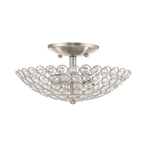 Cassandra Brushed Nickel 11-Inch Two-Light Ceiling Mount with Clear Crystals