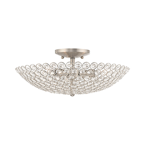 Cassandra Brushed Nickel Three-Light Ceiling Mount