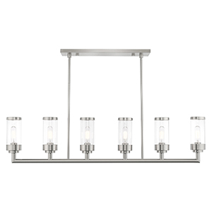 Hillcrest Brushed Nickel 5-Inch Six-Light Linear Chandelier