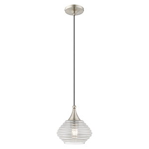 Art Glass Mini Pendants Brushed Nickel Eight-Inch One-Light Mini Pendant with Smoke Glass