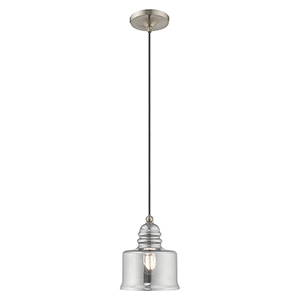 Art Glass Mini Pendants Brushed Nickel Seven-Inch One-Light Mini Pendant with Smoke Glass