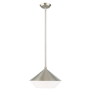 Stockholm Brushed Nickel 13-Inch One-Light Mini Pendant with Brushed Nickel Metal Shade with Hand Crafted Hardback Shade