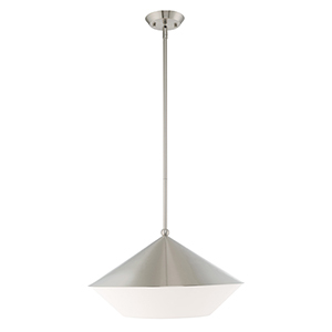 Stockholm Brushed Nickel 18-Inch One-Light Pendant with Brushed Nickel Metal Shade with Hand Crafted Hardback Shade