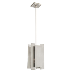 Varick Brushed Nickel Seven-Inch One-Light Mini Pendant with Brushed Nickel Metal Shade