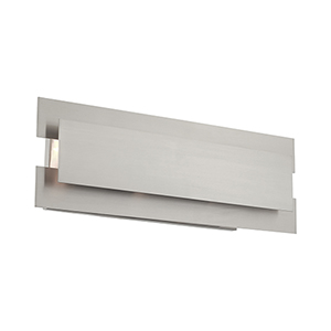 Varick Brushed Nickel Eight-Inch Three-Light Bath Vanity with Brushed Nickel Metal Shade