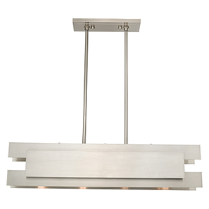 Varick Brushed Nickel Seven-Inch Four-Light Linear Chandelier with Brushed Nickel Metal Shade