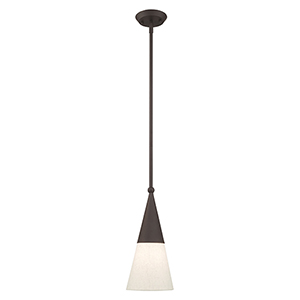 Stockholm Bronze Seven-Inch One-Light Mini Pendant with Bronze Metal Shade with Hand Crafted Hardback Shade