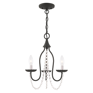 Alessia Black 13-Inch Three-Light Mini Chandelier