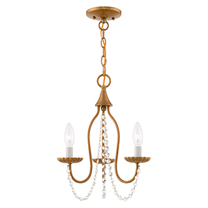 Alessia Antique Gold Leaf 13-Inch Three-Light Mini Chandelier