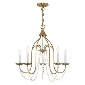 Alessia Antique Brass 24-Inch Five-Light Chandelier