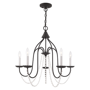 Alessia Black 24-Inch Five-Light Chandelier