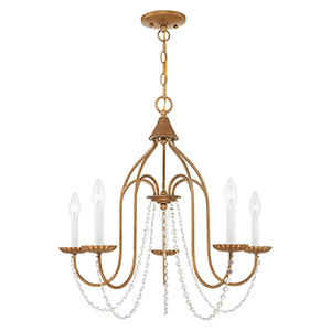 Alessia Antique Gold Leaf 24-Inch Five-Light Chandelier