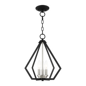 Prism Black and Brushed Nickel Cluster Three-Light Convertible Pendant
