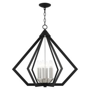 Prism Black and Brushed Nickel Cluster Six-Light Chandelier