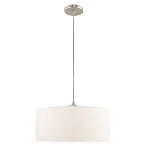 Clark Brushed Nickel 18-Inch One-Light Pendant Chandelier with Hand Crafted Off-White Hardback Shade