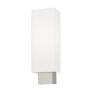 Clark Brushed Nickel 5-Inch One-Light ADA Wall Sconce with Hand Crafted Off-White Hardback Shade