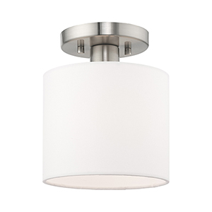 Clark Brushed Nickel Seven-Inch One-Light Ceiling Mount with Hand Crafted Off-White Hardback Shade