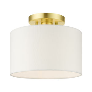 Meridian Satin Brass 10-Inch One-Light Semi-Flush Mount