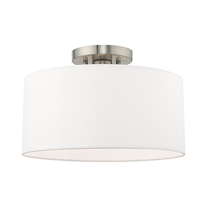 Clark Brushed Nickel 13-Inch One-Light Ceiling Mount with Hand Crafted Off-White Hardback Shade