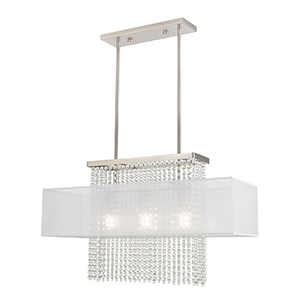 Bella Vista Brushed Nickel Three-Light Linear Chandelier
