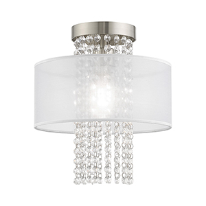 Bella Vista Brushed Nickel 11-Inch One-Light Ceiling Mount with Clear crystals Hand Crafted Translucent Shade