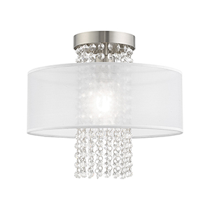 Bella Vista Brushed Nickel 13-Inch One-Light Ceiling Mount with Clear crystals Hand Crafted Translucent Shade