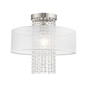 Bella Vista Brushed Nickel 15-Inch One-Light Ceiling Mount with Clear crystals Hand Crafted Translucent Shade