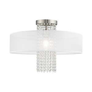 Bella Vista Brushed Nickel Ceiling Mount Transparent Crystals Hand Crafted Translucent Fabric Shade