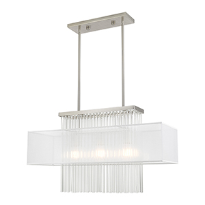 Alexis Brushed Nickel Three-Light Linear Chandelier