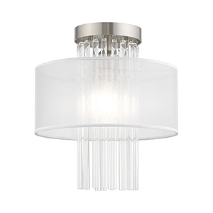 Alexis Brushed Nickel 11-Inch Ceiling Mount Transparent Crystal Rods Hand Crafted Translucent Fabric Shade