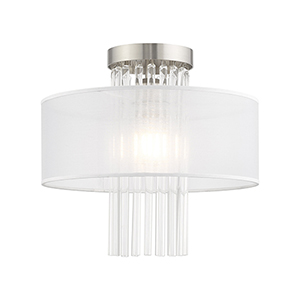 Alexis Brushed Nickel 13-Inch One-Light Ceiling Mount with Clear Crystal Rods