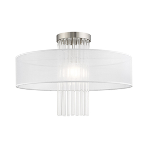 Alexis Brushed Nickel Ceiling Mount Transparent Crystal Rods Hand Crafted Translucent Fabric Shade