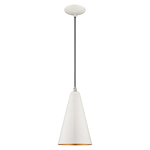 Metal Shade Mini Pendants Shiny White Seven-Inch One-Light Mini Pendant with Shiny White Metal Shade with Gold Finish Inside