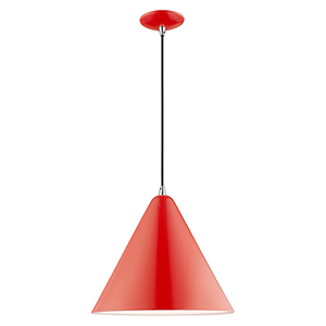 Metal Shade Mini Pendants Shiny Red 14-Inch One-Light Mini Pendant with Shiny Red Metal Shade with Shiny White Finish Inside