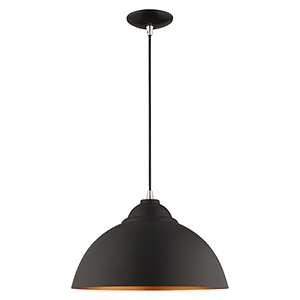 Metal Shade Mini Pendants Black 16-Inch One-Light Mini Pendant with Black Metal Shade with Gold Finish Inside