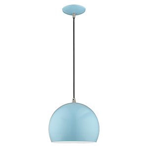 Metal Shade Mini Pendants Shiny Baby Blue 10-Inch One-Light Mini Pendant with Shiny Baby Blue Metal Shade with Shiny White