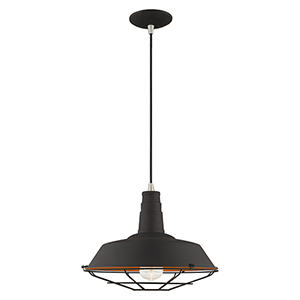Metal Shade Mini Pendants Black 14-Inch One-Light Mini Pendant with Black Metal Shade