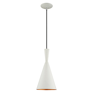 Metal Shade Mini Pendants White Seven-Inch One-Light Mini Pendant with White Metal Shade with Gold Finish Inside