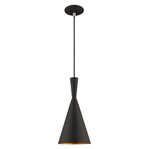 Metal Shade Mini Pendants Black Seven-Inch One-Light Mini Pendant with Black Metal Shade with Gold Finish Inside