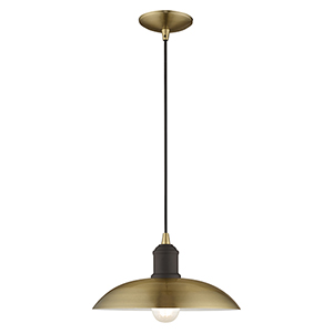 Metal Shade Mini Pendants Antique Brass 13-Inch One-Light Mini Pendant with Antique Brass Metal Shade with White Finish