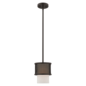 Braddock Bronze Seven-Inch One-Light Mini Pendant with Bronze Stainless Steel Mesh and Oatmeal Hardback Shade