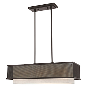 Braddock Bronze 12-Inch Three-Light Linear Chandelier with Bronze Stainless Steel Mesh and Oatmeal Hardback Shade