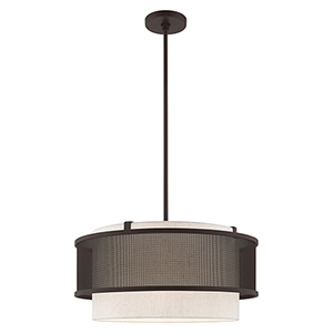 Braddock Bronze 20-Inch Four-Light Pendant Chandelier with Bronze Stainless Steel Mesh and Oatmeal Hardback Shade