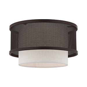 Braddock Bronze 12-Inch One-Light Ceiling Mount with Bronze Stainless Steel Mesh and Oatmeal Hardback Shade
