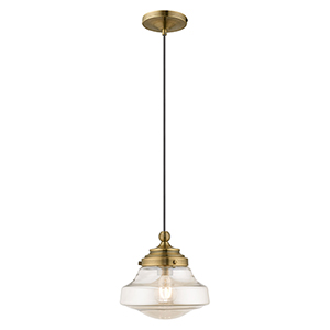 Art Glass Mini Pendants Antique Brass 9-Inch One-Light Mini Pendant with Champagne Glass